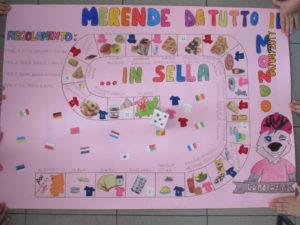 Cartellone di colore rosa su cui è stato disegnato un percorso del gioco dell'oca con caselle. In ogni casella vi è un alimento. Il titolo del cartellone è merende da tutto il mondo in sella.